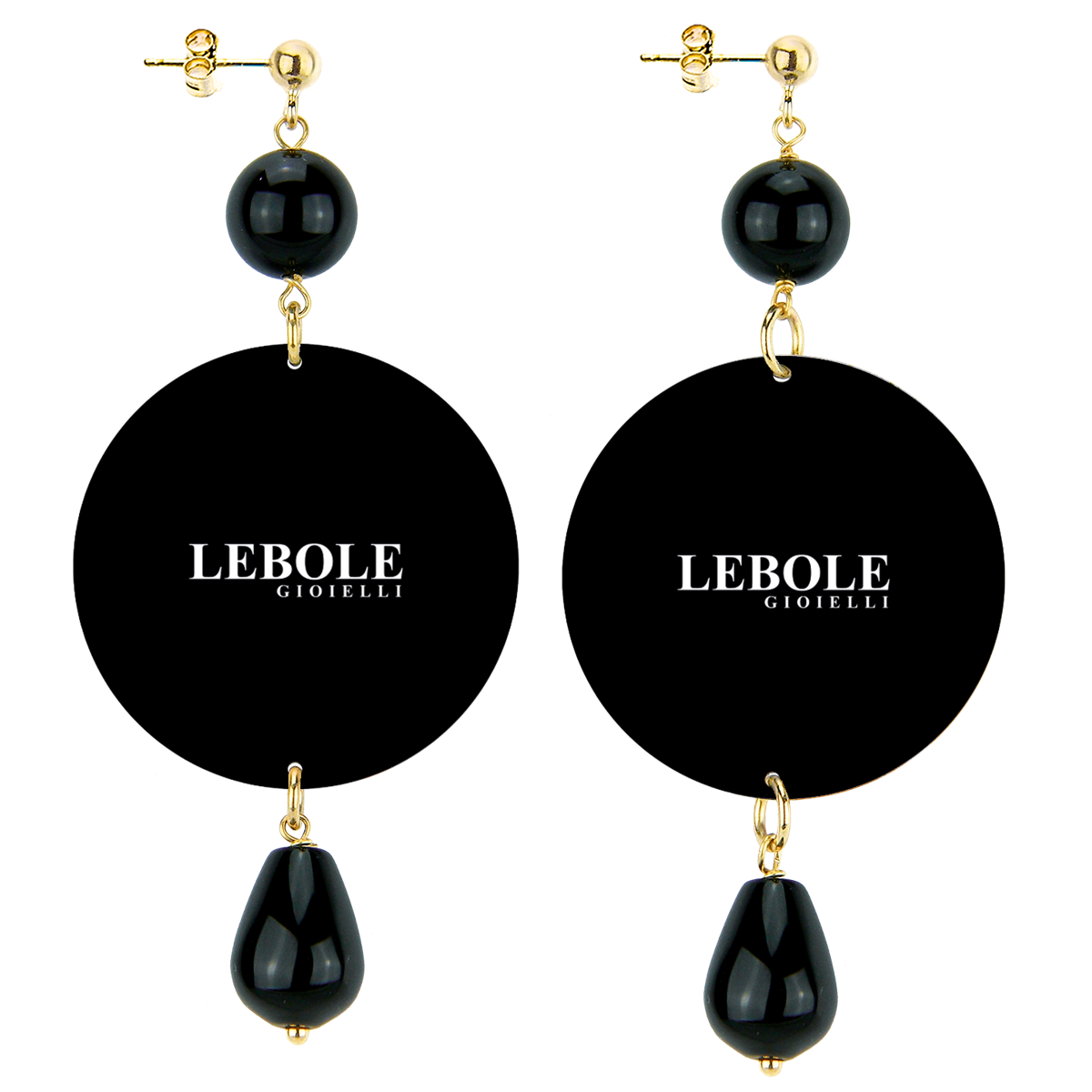 BLACK LADYBUG AND HORN EARRINGS Black LEBOLE GIOIELLI