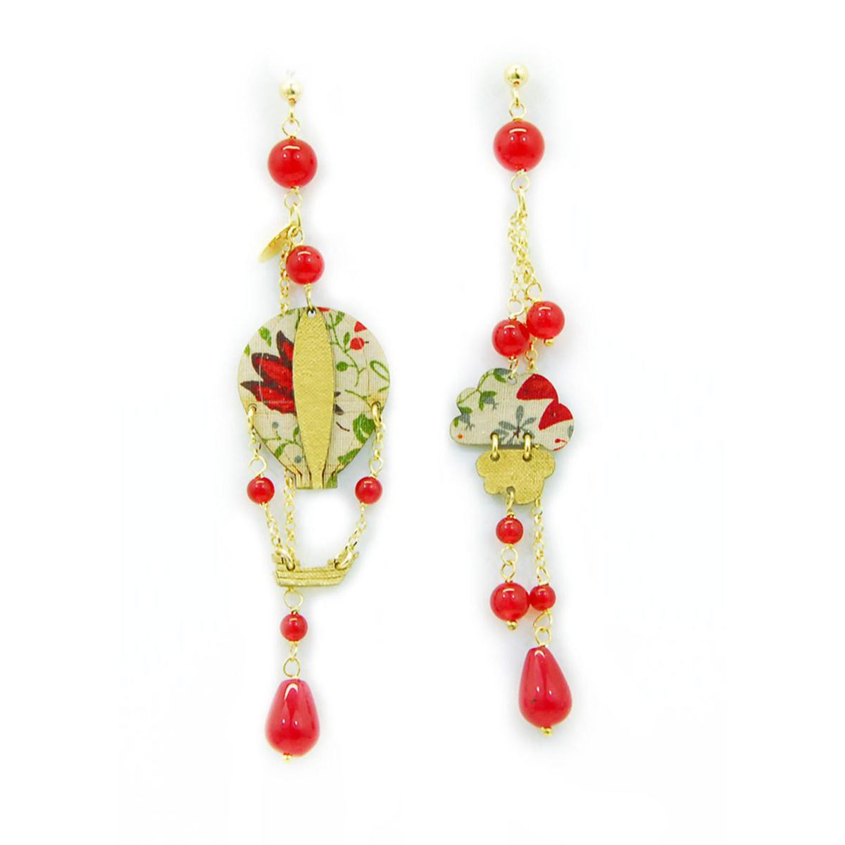 HOT-AIR BALLOON EARRINGS Red LEBOLE GIOIELLI