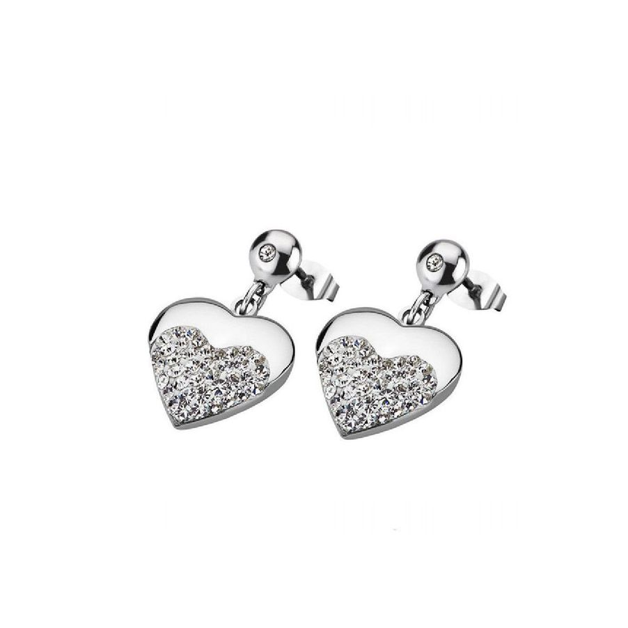STRASS HEART EARRINGS Steel LOTUS Style