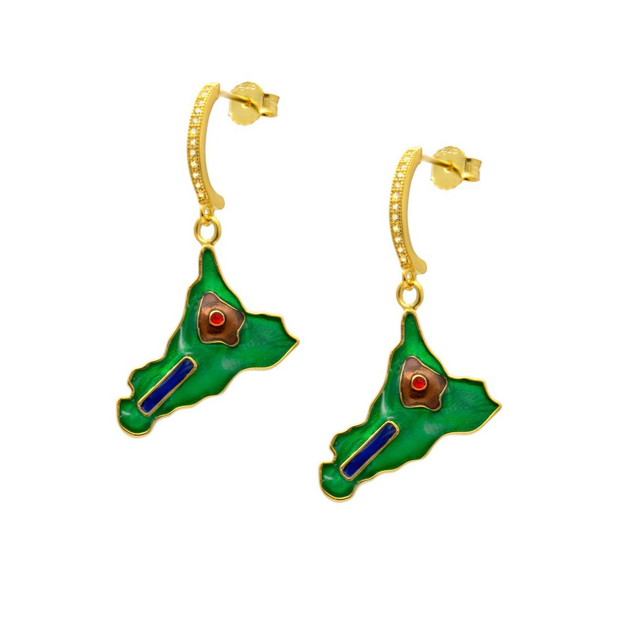 NAIL SICILY GOLD EARRINGS Green M'AMI SICILY JEWELS