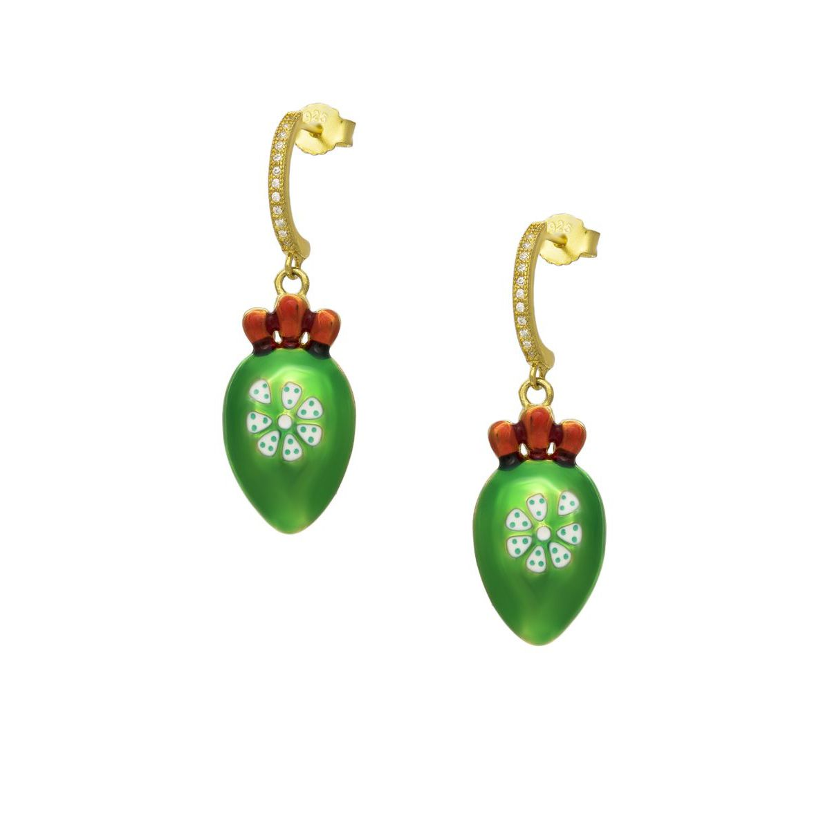PRICKLY PEAR GOLD EARRINGS Green M'AMI SICILY JEWELS