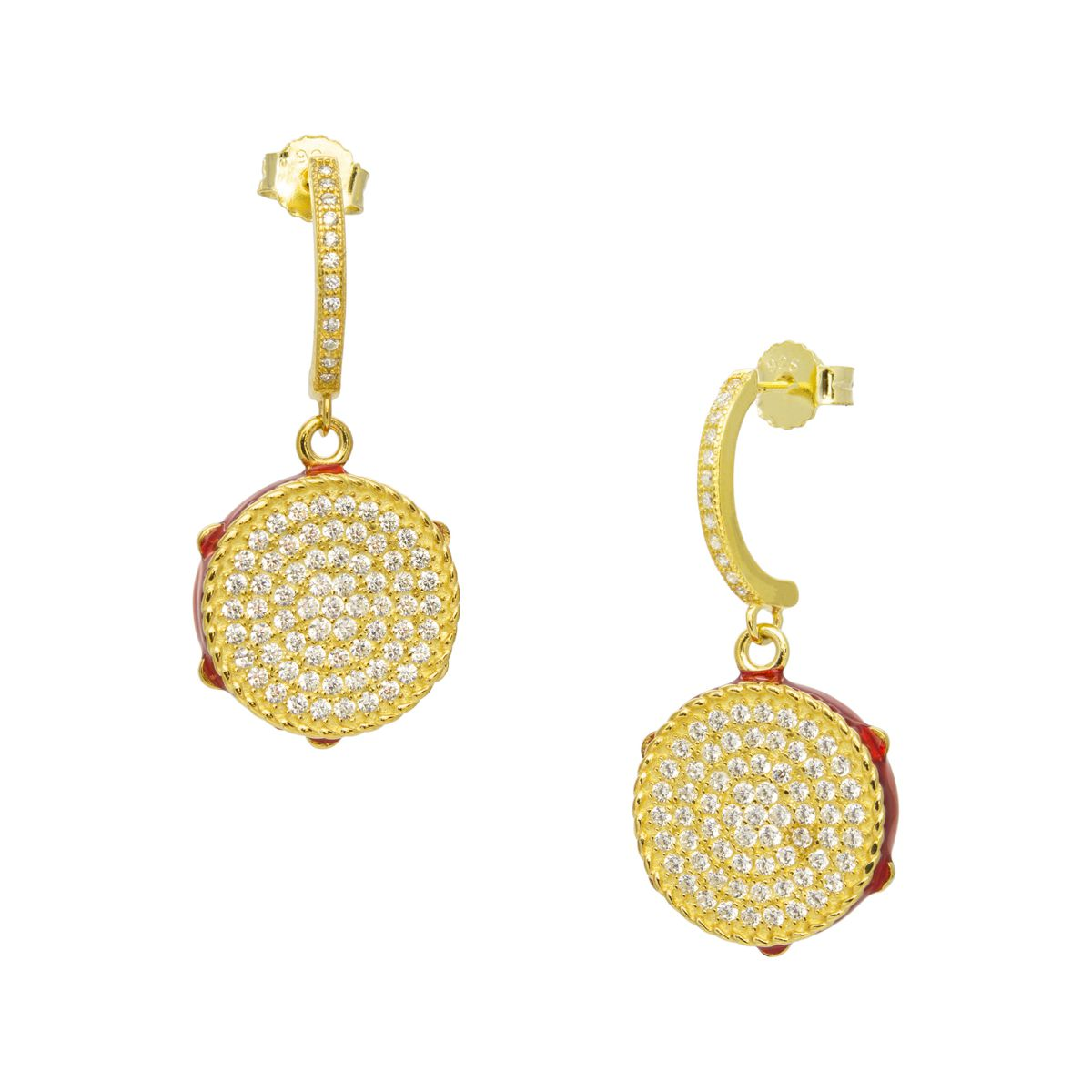 DRUM PENDANT GOLD EARRINGS Gold M'AMI SICILY JEWELS