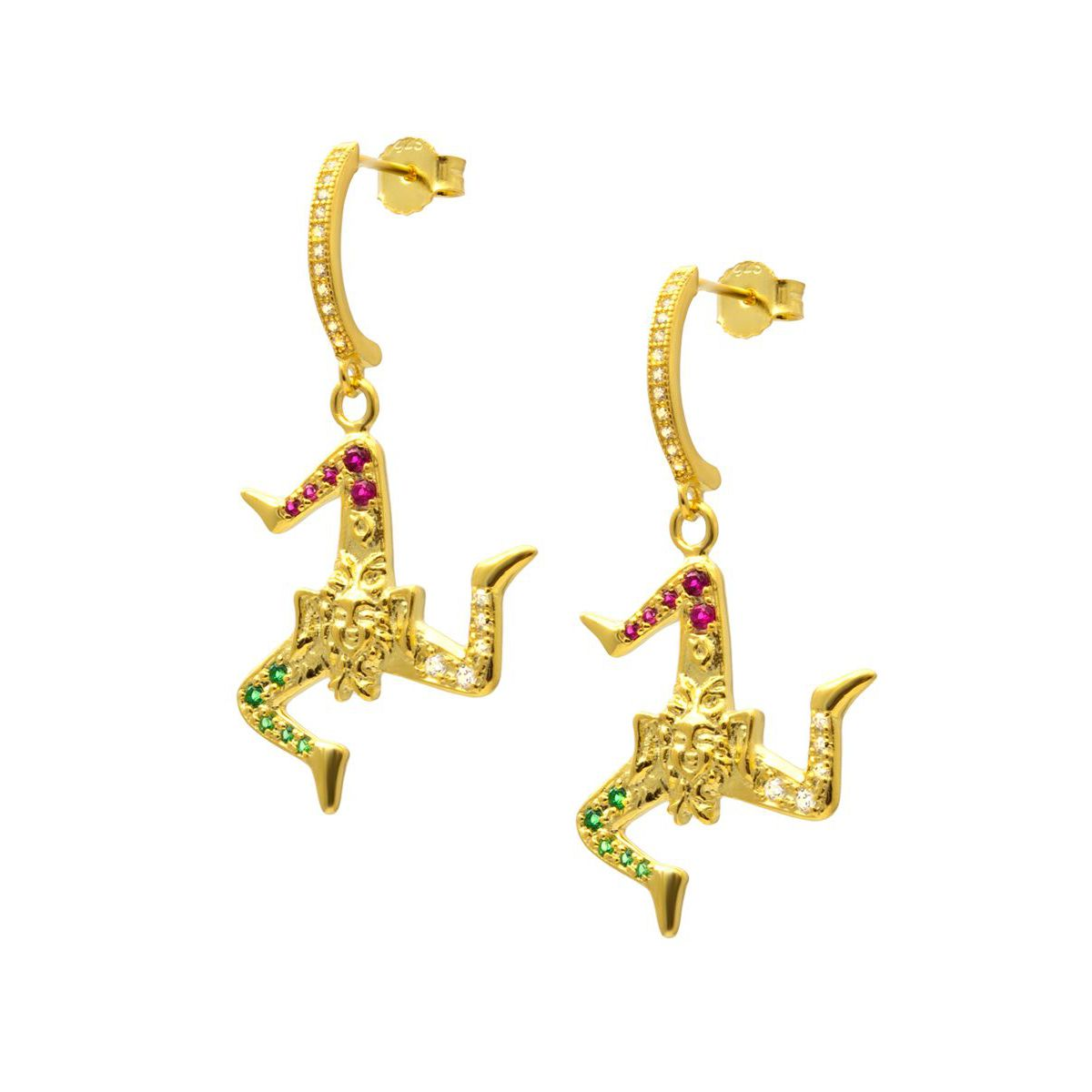 TRINACRIA PENDANT EARRINGS Gold M'AMI SICILY JEWELS