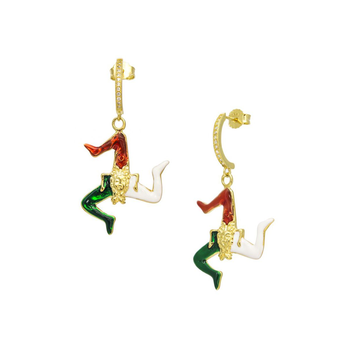 Trinacria gold pendent earrings Gold M'AMI SICILY JEWELS