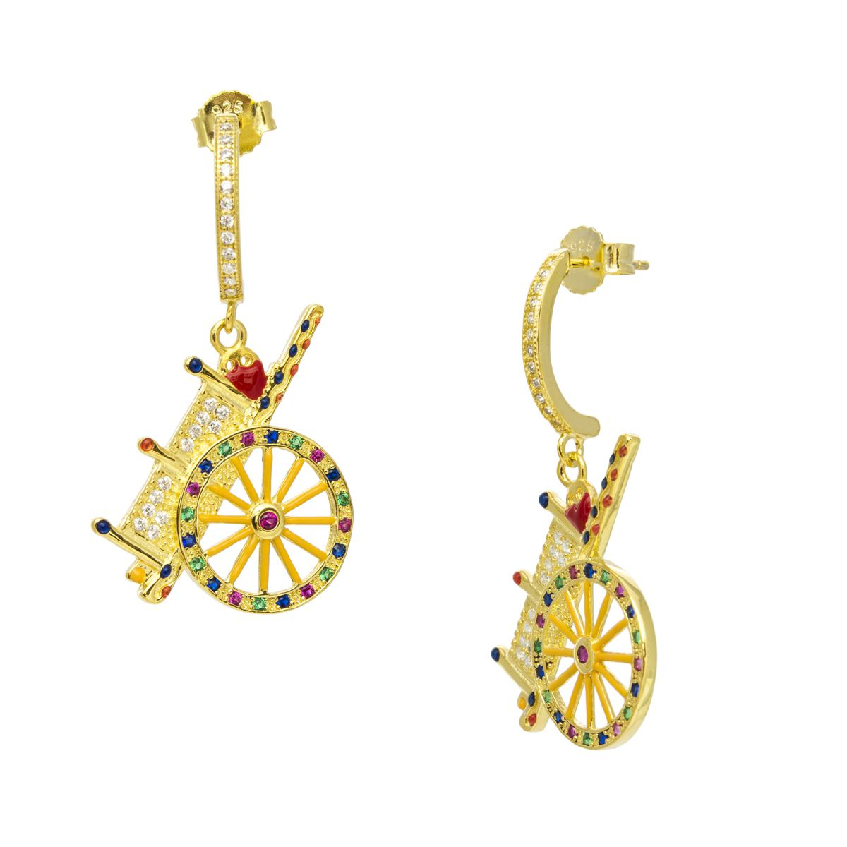 HANDCART PENDANT GOLD EARRINGS Gold M'AMI SICILY JEWELS