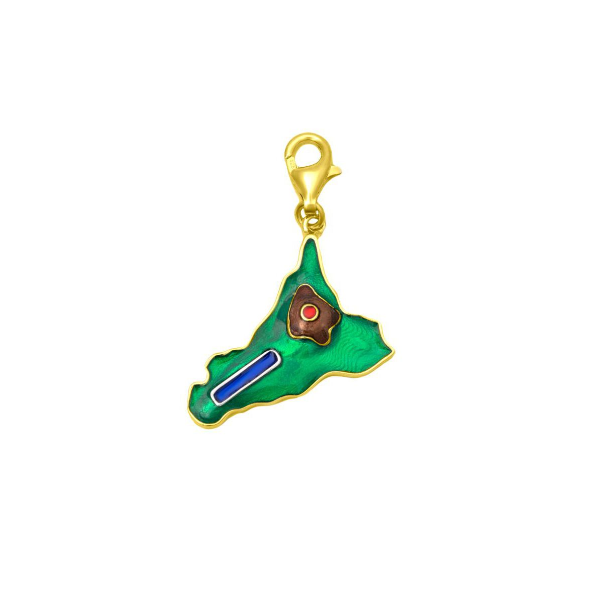 SICILY NAIL GOLD CHARM Green M'AMI SICILY JEWELS