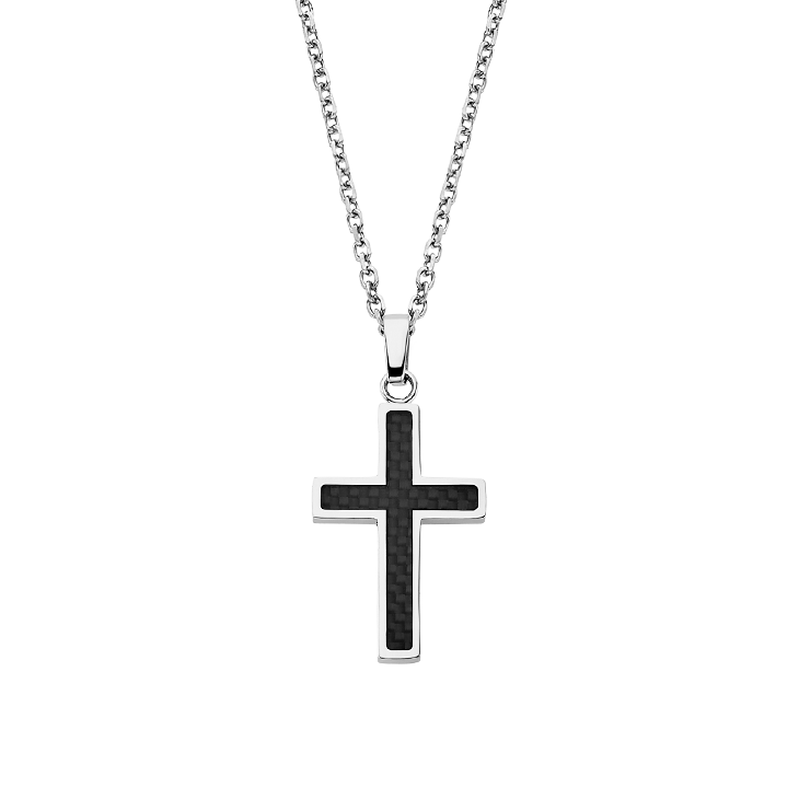 MAN CROSS NECKLACE LS1983/1/1 Black LOTUS Style