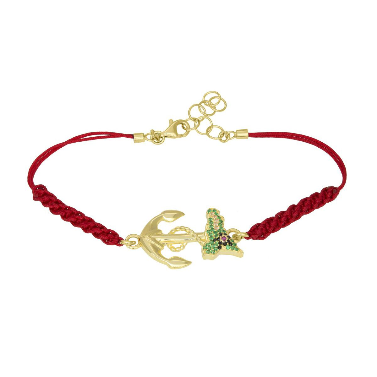 ANCHOR AND SICILY MACRAME BRACELET Red M'AMI SICILY JEWELS
