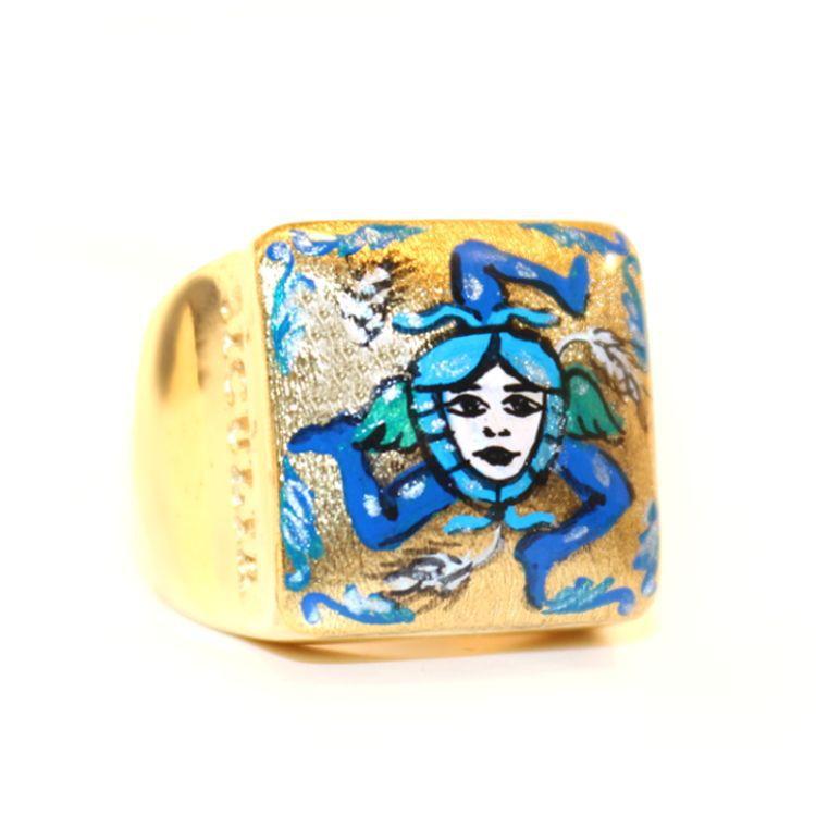 TRINACRIA GOLD RING Blue Sicùlia Gioielli